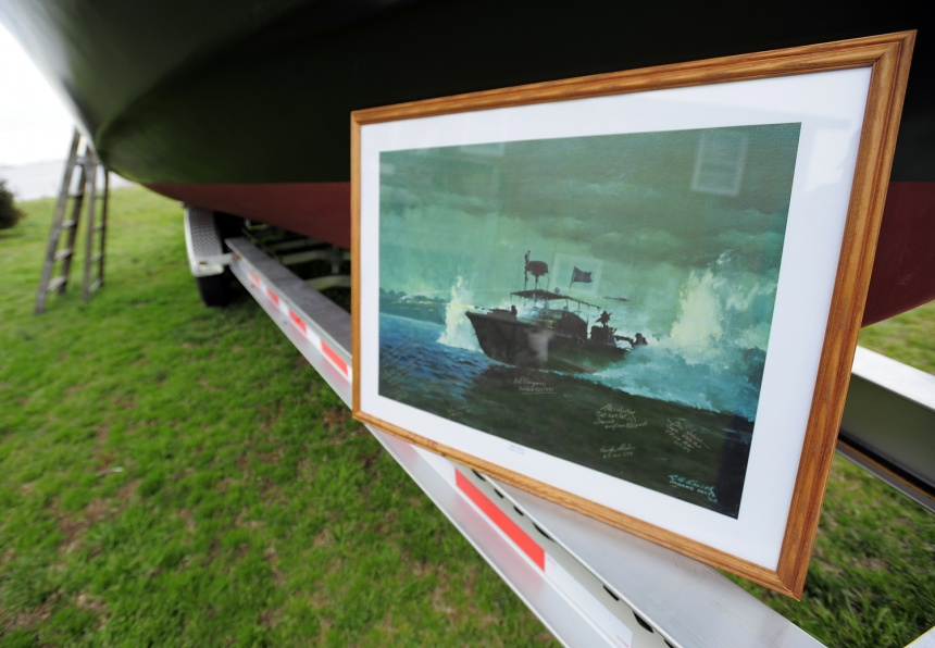 Robert G. Smith's painting of a PBR boat used in the Vietnam War.