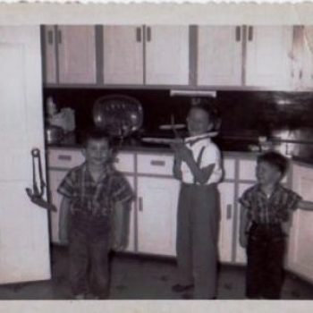 Dennis (l), Allen (c) and Frank (r) Ambruso at home in Connecticut