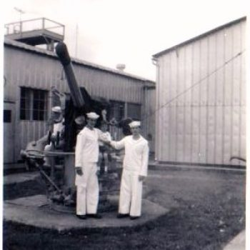 Big Al on the left, and Dennis on the right as Sea Cadets at the USNR center in Stamford, CT. 1959-60